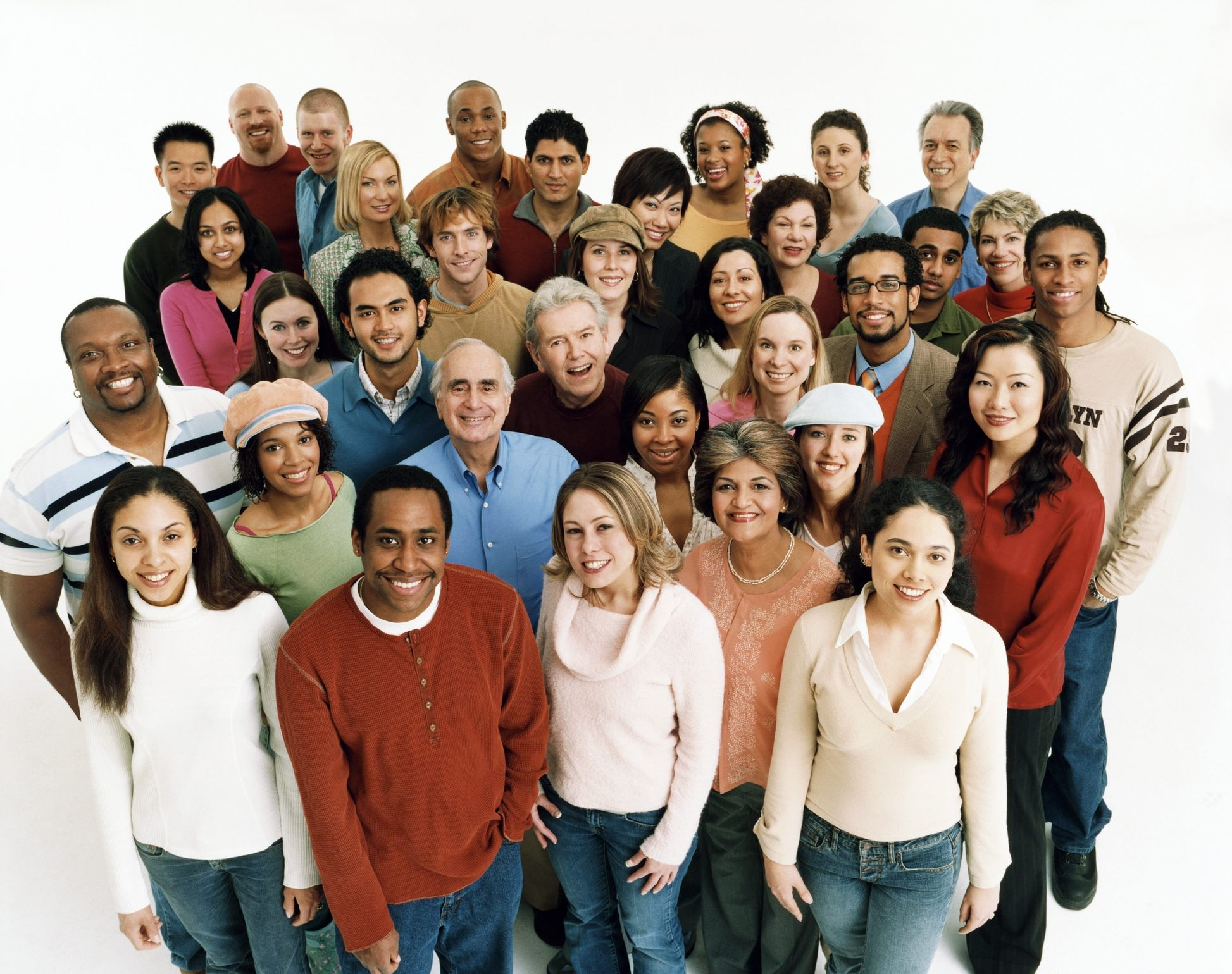 Studio Shot of a Large Mixed Age, Multiethnic Group of Men and Women